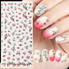 Pink Plum Blossom 3D Nail Stickers Nail Art Transfer Decals DIY Decoration