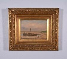 *Antique Oil on Panel Seascape with Boats Painting with Gilt Frame