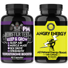 Angry Supplements Total Testosterone Support Monster Test PM + Energy Pills