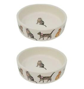 2 x Cats Cat Persian Tabby Cream Scarfs Pet Stoneware Dish Bowls Food Water 5""
