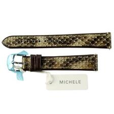 NEW Michele 16mm Embossed Brown Gold Snakeskin Watch Band Strap Genuine Leather