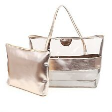 Zicac semi-trasparente Tote Bags a Righe in PVC Beach Shoulder Bag Con Piccolo Cosmetici.