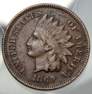 1869 Indian Head Cent - VF Details !!