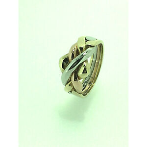 Puzzle Ring By Herron 9ct Gold Four Piece Three Colour Puzzle Ring Size (I-Q)