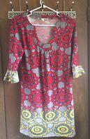 Anthropologie Aryeh Red Boho Knit Tunic  Dress Sz M