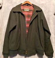 Men's L.L.BEAN (Large ) Vintage Green Wool Flannel Lined Jacket Made In USA