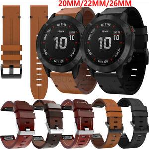 Leder Armband für Garmin Fenix 6 6S 6X 5 5S 5X Plus 3 HR 20/22/26mm Uhrenarmband