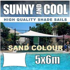 HEAVY DUTY SHADE SAIL-5x6M RECTANGLE IN SAND,5Mx6Mx5Mx6M,5mx6m,BEIGE