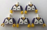 LEGO 5 x Torsos Disco Dude White Purple Male Man Minifigure Torso Bundle