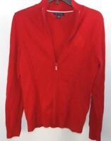 Tommy Hilfiger Womens Sweater Jacket Red Full Zip Crest Logo Cable Knit Size M