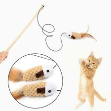 2 Pcs Cute Cat Catcher Teaser Wand with Simulation Mouse Pet Interactive Toy Fun