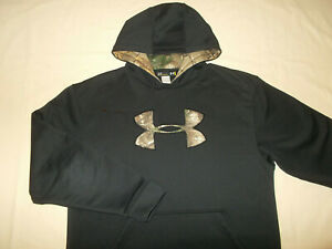 UNDER ARMOUR STORM BLACK W/CAMO LOGO HOODED SWEATSHIRT MENS LARGE EXCELLENT