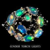 Oval Fire Opal Rainbow Full Flash 5x3mm Black Spinel 925 Sterling Silver Ring 9