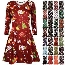 Womens Ladies Christmas Santa Gift Candy Stick Penguin Reindeer Swing Mini Dress