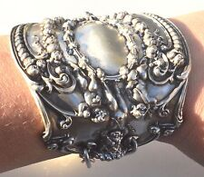 Antique Rare Tiffany Solid Sterling Silver Cuff Bracelet Angel Cherub Gladiator