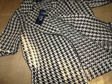 CHAPS BLACK/OFF-WHITE HOUNDSTOOTH JACKET COAT SIZE SMALL MSRP $99 BAMA TIDE