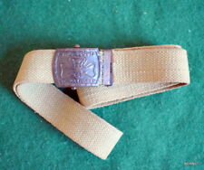 GIRL SCOUT  -1922-28 GIRL SCOUT STRETCHED TREFOIL BUCKLE - KHAKI WEBB BELT