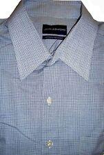 John Ashford Men's Dress Shirt Cotton Blend Checks Blue Classic Fit 16 1/2 32/33