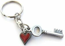 Key & Heart Handmade Pewter Keyring + 59mm Button Badge + Organza Bag KR897