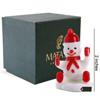 Matashi Murano Christmas Winter Decorative Glass Snowman Figurine,Christmas Gift