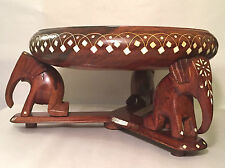 Wooden Bowl Decorated Inlay Handcarved Wood Centerpiece Elephant Stand & Base