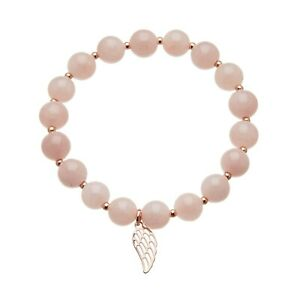 Womens Pink Charm Bracelet jade beads with a rose gold angel wing - Rae P17