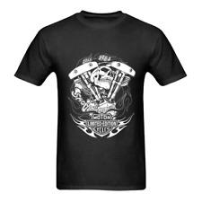 Vintage Men's T-Shirt Shovelhead Engine Skull Fire Motor-cycle Black (S-2XL)