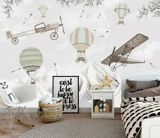 New Listing Hot Air Balloons and Planes Wallpaper Mural Retro Airship Nursery Removable