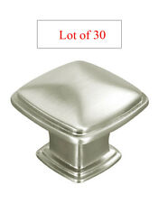 30 PC Satin Nickel or Brushed Kitchen Cabinet Square Knobs Pulls 31MM free ship