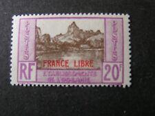 "FRENCH POLYNESIA, SCOTT # 134, 20fr. VALUE DARK GREEN 1941 ""FRANCE LIBRE"" MVLH"