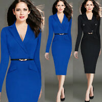 Elegant Women's Business Work Formal Suit Office OL V-Neck Bodycon Pencil Dress