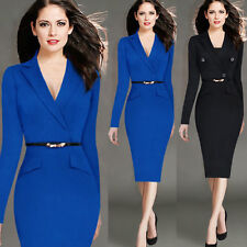 Elegant Women Business Office Work Formal Party Belt Bodycon Sheath Pencil Dress