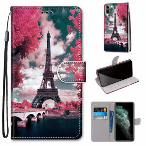 Iron Tower Flower Flip Wallet Fashion Women Bracket Case Cover For Various Phone