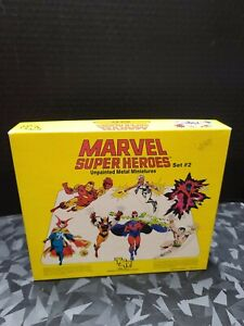 Pre-Owned TSR Marvel Super Heroes Unpainted Metal Miniatures Set 2 Complete 1984