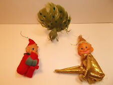 LOT OF 3 VINTAGE CHRISTMAS ORNAMENTS PEACOCK & PIXIES ELVES 50's or 60's
