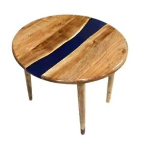 """18"""" Epoxy Resin Wooden Side Table Top Home Office Decor"""