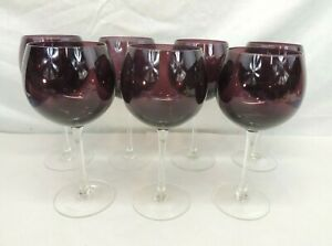 LOT OF 7 PURPLE WINE GLASSES STEMWARE