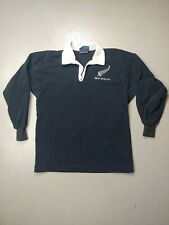 Vintage Canterbury New Zealand All Blacks Rugby Polo Long Sleeve faded medium