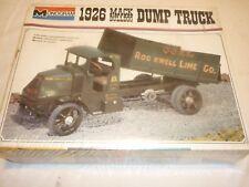 A vintage monogram un-opened plastic kit of a 1926 Mack Bulldog Dump truck
