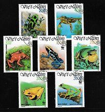 WWF grenouilles Jeu de 7 timbres CTO 1991 VIETNAM #2275-81