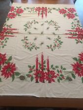 """Vintage Tablecloth Christmas Poinsettias Candles Holly Pinecones 44""""x51"""""""