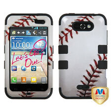 For LG Motion 4G / Optimus Regard IMPACT TUFF HYBRID Case Phone Cover Baseball