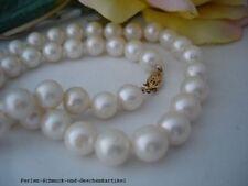 Kette aus Echten Perlen Weiß Rund 9,2mm / 45cm, 14Kt. / 585er Gelbgold ,Geschenk