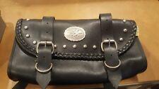 """vIntage WILLIE AND MAX 12"""" X 6"""" saddlebag MOTORCYCLE black  leather  BIKER BAG"""