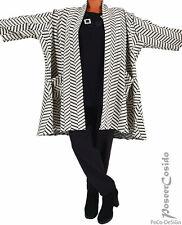 PoCo LAGENLOOK Strick Jacke schwarz ecru Cardigan XL-XXL 46 48 50 52 54 56 58