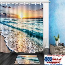 Ocean Beach Sunset Shower Curtain Set w/ Hook Bath Mat Waterproof Bathroom