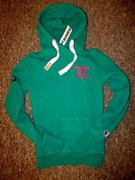 NEW Womens SuperDry Athletic High Hoodie XS GREEN hoody RRP £49.99 100% Cotton