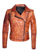 New Women Cafe Racer Moto Biker Distressed Brown Vintage Real Leather Jacket
