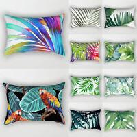 Tropical Plants Printed Cushion Cover Green Leaves Pillowcase Home Sofa Decor UK