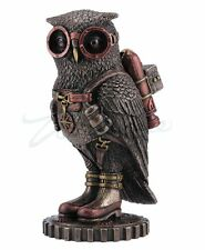 Steampunk Owl Sculpture w/Jetpack on Gears Colonel J. Fizziwig Statue Figurine